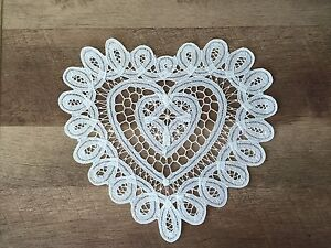 "10"" Inch White Heart Shape Battenburg Lace Vintage Cotton Doilies Set of 12"