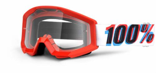 100/% MASCHERINA OCCHIALE STRATA JUNIOR BAMBINO 3D ROSSO MOTO CROSS ENDURO