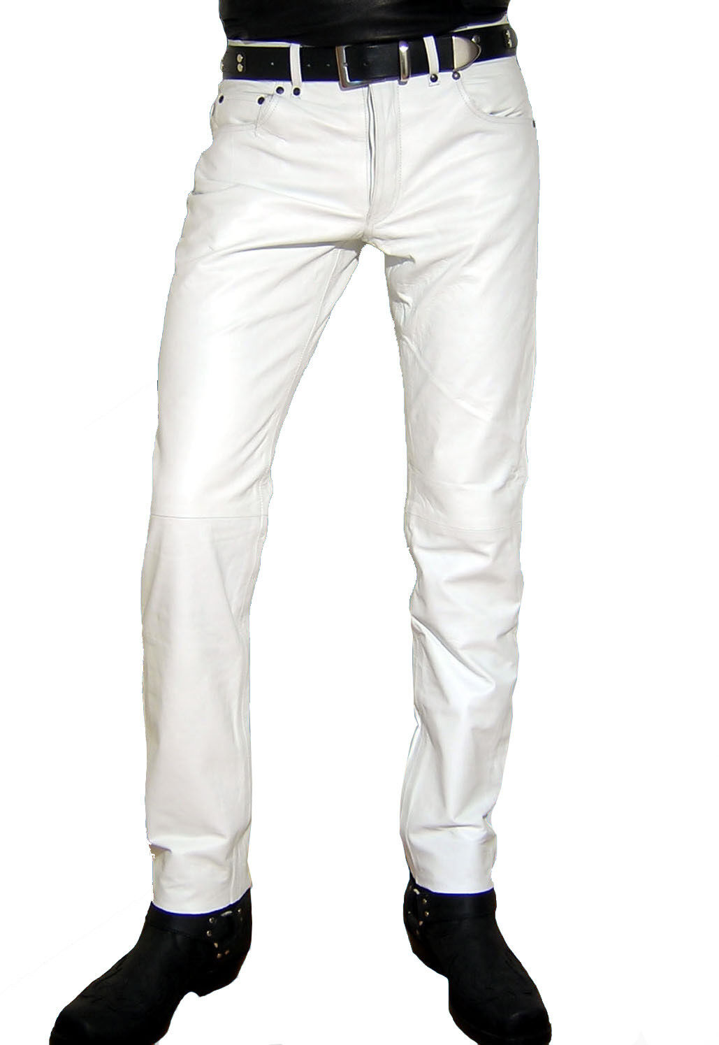 Mens leather jeans white leather pants new leather trousers  Lederjeans white