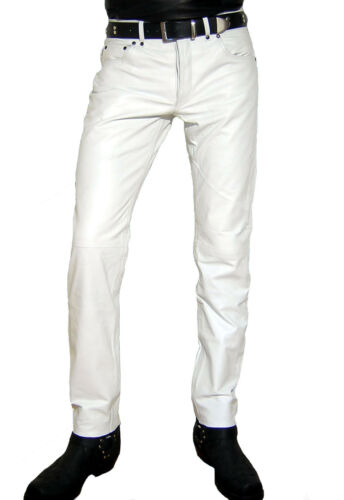 mens leather jeans white leather pants new leather trousers  Lederjeans weiß