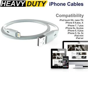 Details about Heavy DUTY Flat Lightning Cable Data & Charger for Apple iPhone 7 6s 6 Plus X 8