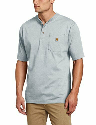 Carhartt Mens Workwear Pocket Short Sleeve Henley Original Fit K84,Heather Gray,X-Large Tall