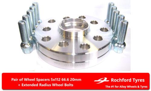 DISTANZIALI RUOTA 20 mm 5x112 66.6 bulloni OE per Merc E-Class E55 AMG W211 02-09 2
