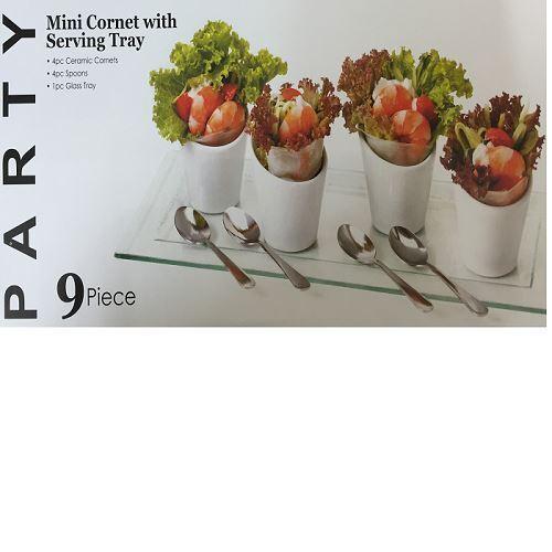 9Pc Coffret Amuse Bouche Sur Plateau Tapas Set Mini Cornet W// Serving Glass Tray
