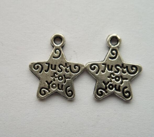 50pcs Tibetan silver stars charms pendant  14x12 mm