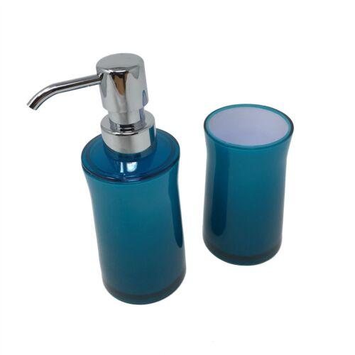 2X Uni Transparent Bleu Sarcelle Blanc Rond Salle de Bain Savon Distributeur