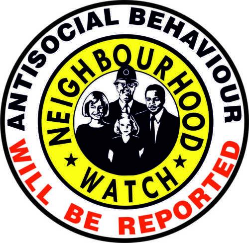 Orologio di quartiere adesivi per comportamento antisociale segnalati-Firmare Adesivo
