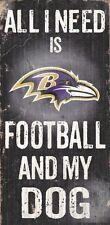 Baltimore Ravens Football and Dog Wood Sign [NEW] NCAA Man Cave Den Wall