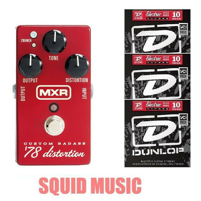 MXR Custom Badass '78 Distortion M-78 Guitar Effects ( 3 SETS OF STRINGS ) M78