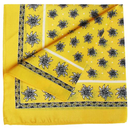 Halstuch Trachtentuch Edelweiss-muster nikituch 100/%Seide 52x52cm 12x Farbtöne