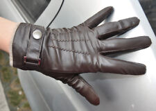 Men's Touch Screen Genuine Leather Winter Wrist Gloves  Driving Gloves 3Lines