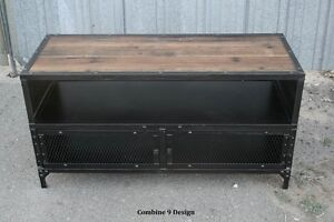 Image Is Loading VintageIndustrialTVStandReclaimedWoodMidCentury Rustic Industrial Tv Stand N24