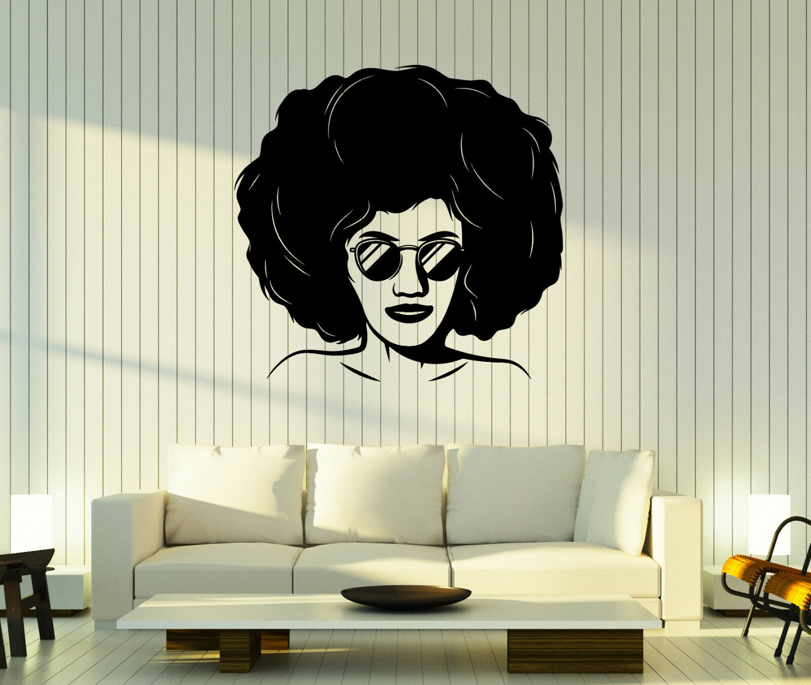 Wall Vinyl Decal Beauty Girl  Style of the 90's Hairstyle Glasses Decor z4831