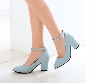 Women-039-s-Mary-Jane-Buckle-Ankle-Strap-High-Heels-Pointed-Toes-Block-Shoes-Casual
