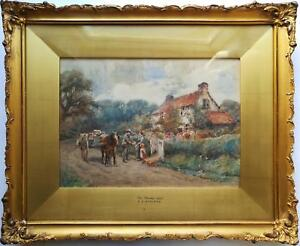 ALBERT-GEORGE-STEVENS-SIGNED-ORIGINAL-ANTIQUE-WATERCOLOR-PAINTING-A-RURAL-SCENE
