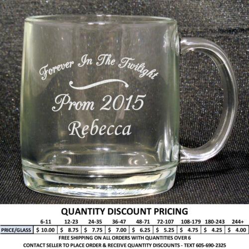 Personalized 13oz Glass Mug Custom Engraved Glasses Mugs Formal Dance Prom