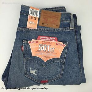 eb552616 LEVI'S 501 CT JEANS MENS NEW BLUE DISTRESSED TAPERED LEG ORIGINAL ...