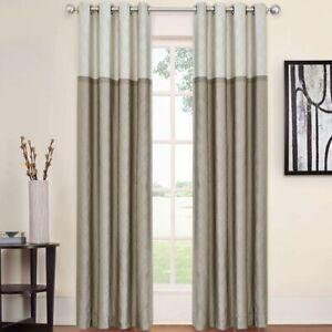 Rothsville Geometric Blackout Grommet Single Curtain Panel Tan New Ebay