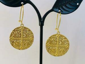 18K-Gold-on-925-Sterling-Silver-Coin-Medallion-Boho-Earrings-Tribal-Ethnic-Disc