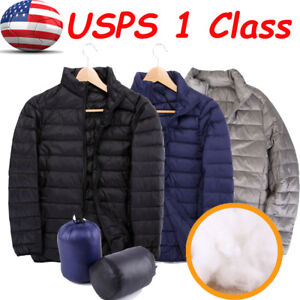 US-Men-039-s-Packable-Down-Jacket-Ultralight-Stand-Collar-Coat-Winter-Filled-Puffer