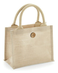 WESTFORD-MILL-MINI-JUTE-BAG-ECO-REAUSABLE-COTTON-HANDLES-LUNCH-STORAGE-GIFT-TOTE
