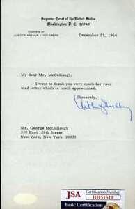 Judge Arthur Goldberg JSA Signed 1964 Letter Supreme Court Justice Autograph