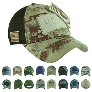 c808f5f6a66 USA American US Flag Baseball Cap Army Camo Military Tactical Mesh ...