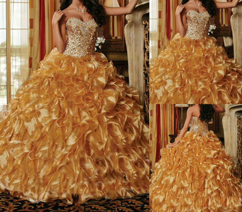 gold Sweetheart 16 Prom Dress Formal Party Pageant Quinceanera Dresses Dresses Dresses Size 2-16 8cf2ab
