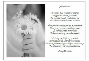 A4 Personalised Poem Thank You For Being My School Teacher