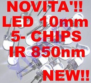 INFRARED-LED-INFRAROSSI-IR-850nm-10mm-5-CHIPS-40-100mA-ALTA-Potenza-Luminosita