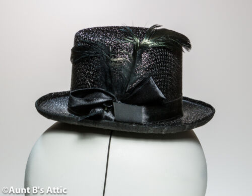 Top Hat Steampunk Mini Victorian Burlesque Black Felt Costume Hat With Feather