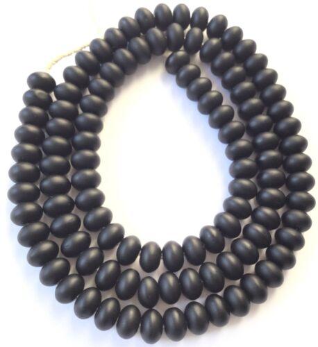 104 Fine Vintage Bohemian Trade Matte Black Glass Rondelle African beads-Ghana