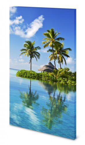 Magnettafel Pinnwand Bild Natur Insel Palmen Urlaub Meer gekantet