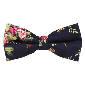 82101d287423 Wedding Black Floral Cotton Pre-Tied Mens Bow Tie. Great Quality ...