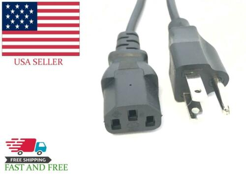 PC Computer Power Cord Cable 3 Prong Universal 6ft for Desktop Printer Monitor