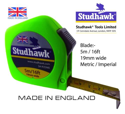 STUDHAWK Tape Measure 5m//16ft 19mm wide Fisco Proflex PZC5ME Made in England