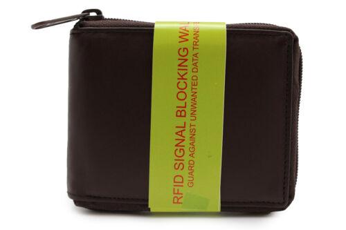 RFID Safe Men/'s Zip-Around Bi-fold leather Wallet Black Brown in Gift Box JTC