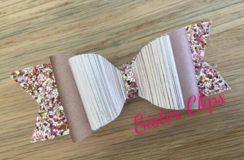 "Girls Handmade rose gold /& champagne mix glitter 4/"" bow hair clip"