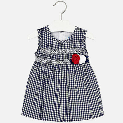 aged 18,24,and 36 02951 Mayoral Infant Girls long sleeve striped dress in Navy
