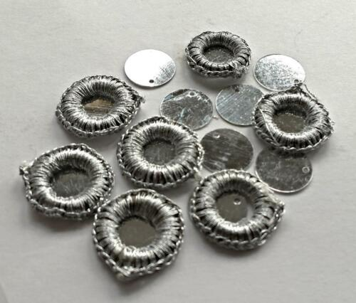 30 Silver Crochet Mirror Surrounds-RIMS flat backed 2 Sew or Glue 4 Card Craft