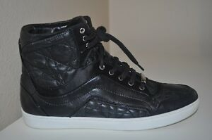 b41ce893 Details about Christian Dior Black Leather Lace Up High Top Sneakers Shoe  Running Cannage 37.5