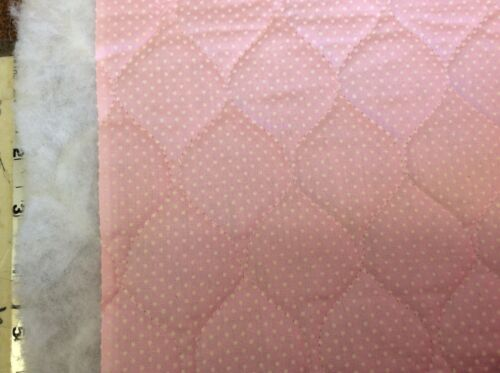 "1 3//4 YARDS PINK DOTTED SWISS QUILTED WITH TRICOT BACKING-44/""W"