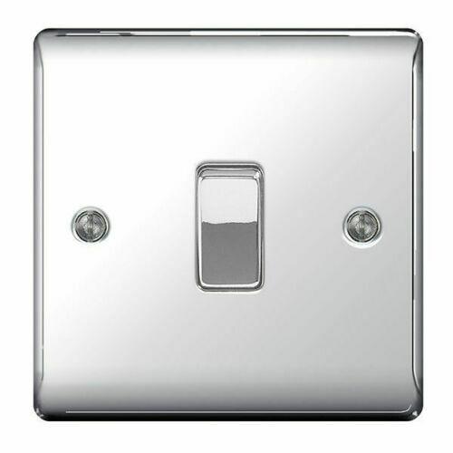 BG Nexus décoratif Interrupteurs /& Douilles Chrome Poli Blanc Inserts Gamme
