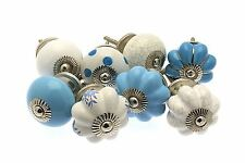 8 x Mixed Blue & White Ceramic Cupboard Knobs Cabinet Knob (MG-228-A)