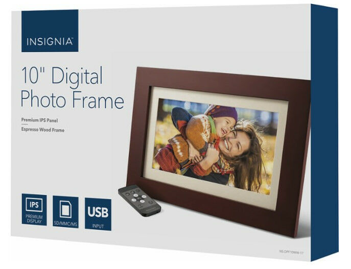 "Insignia - 10"" Widescreen LCD Digital Photo Frame - Espresso - In Retail Box 1"