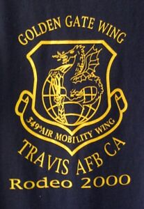 Authentic-2000-Rodeo-Award-USAF-349-Air-Mobility-Wing-Travis-AFB-Black-T-Shirt-M