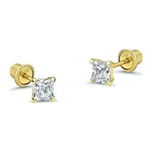 1-5-mm-Princess-Diamond-Tiny-Stud-Screw-back-Earrings-in-Solid-14k-Yellow-gold