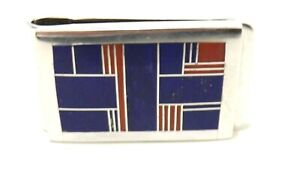 Rare-RAY-TRACEY-KNIFEWING-Signed-STERLING-SILVER-LAPIS-LAZULI-amp-CORAL-MONEY-CLIP