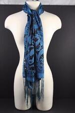 """Shawl Scarf Belt Blue Black Shimmer Sheer Fringe About 66 1/2""""L x 19 1/2""""W O25"""