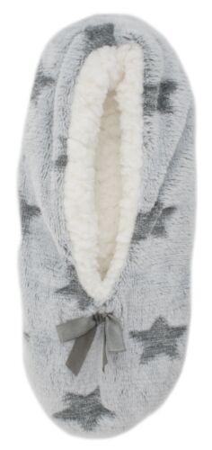 Foxbury Ladies Plush Slipper Socks with Embossed Design
